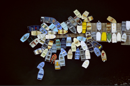 Alex MacLean, 'Dinghies Clustered Around Dock, Duxbury, Massachusetts'