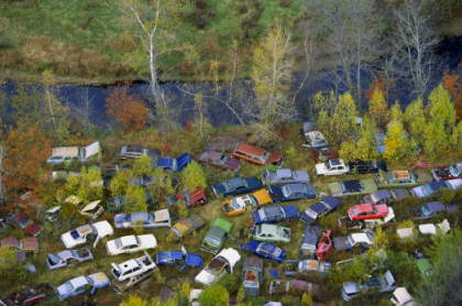 Alex MacLean, 'Junk Yard Along River, Southern New Hampshire,' From 'Deserting' series