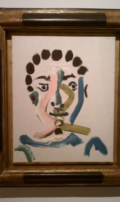 """Head of a Man with Pink and Green ZigZags,"" Pablo Picasso, 1965, oil on canvas (Museo Picasso Malaga, Malaga)"