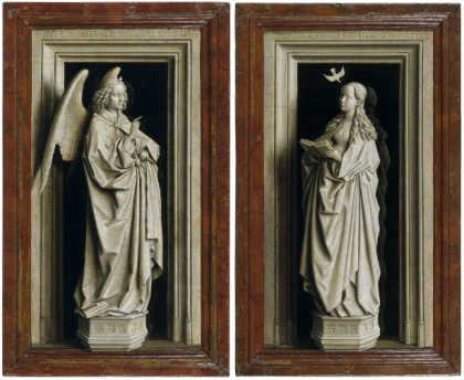 """The Annunciation Diptych,"" Jan van Eyck, ca. 1433-1435, Oil on panel. Left wing (The Archangel Gabriel): 38.8 x 23.2 cm. Right wing (The Virgin Mary): 39 x 24 cm (Museo Thyssen-Bornemisza, Madrid)"
