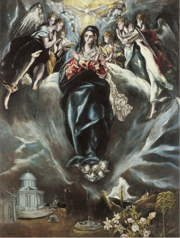 """The Immaculate Conception,"" El Greco and Jorge Manuel Theotokópoulos, ca. 1608-14, Oil on canvas, 108 x 82 cm (Museo Thyssen-Bornemisza, Madrid)"