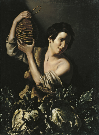 """Young Peasant with a Flask,"" Tommaso Salini, ca. 1610, Oil on canvas, 99 x 73 cm (Museo Thyssen-Bornemisza, Madrid)"