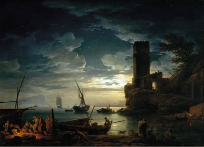"""Night: Mediterranean Coast Scene with Fishermen and Boats,"" Claude-Joseph Vernet, 1753, Oil on canvas, 96.5 x 134.6 cm (Carmen Thyssen-Bornemisza Collection on deposit at Museo Thyssen-Bornemisza)"
