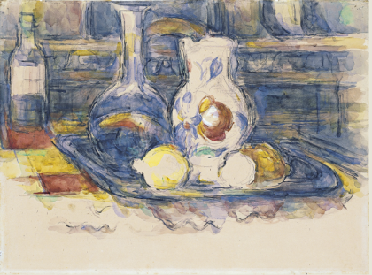 """Bottle, Carafe, Jug and Lemons,"" Paul Cézanne, 1902-6, Watercolour on paper, 44.5 x 60 cm, (Museo Thyssen-Bornemisza, Madrid)"