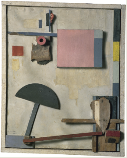 """Merzbild Kijkduin,"" Kurt Schwitters, 1923, Oil, pencil and wood assemblage on cardboard, 74.3 x 60.3 cm (Museo Thyssen-Bornemisza, Madrid)"