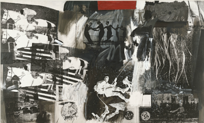 """Express,"" Robert Rauschenberg, 1963, Oil, silkscreen and collage on canvas, 184.2 x 305.2 cm (Museo Thyssen-Bornemisza, Madrid)"