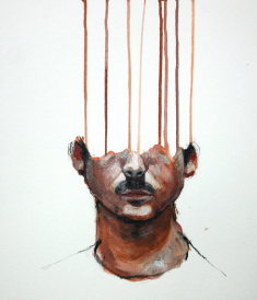 "Lou Ros, ""selfportrait 8,"" 2010, acrylic on canvas, 17.7 x 13.8 in (image courtesy of Saatchi Online)"